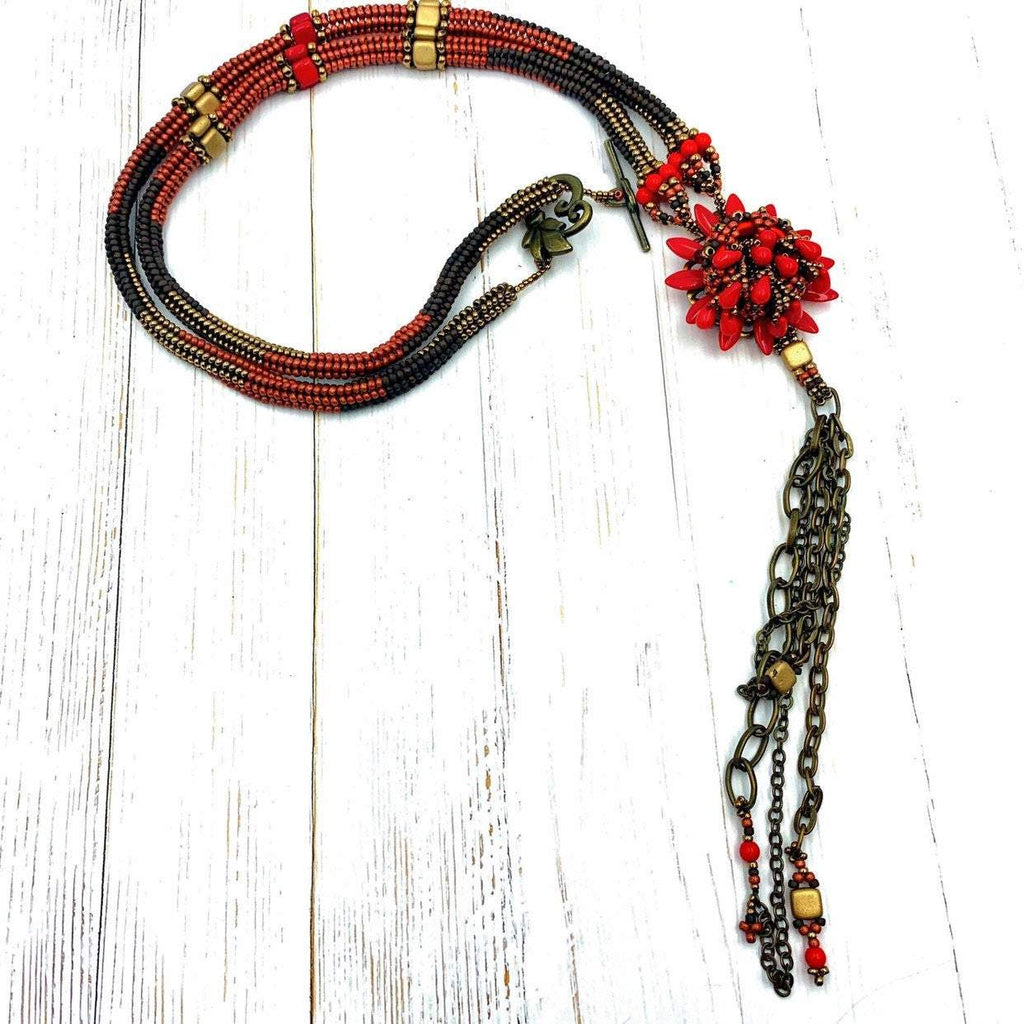 Red, Gold & Bronze Beaded Necklace | Fringed Chain and Hand Stitched Beads | Boho Jewelry | Gift for Women | OOAK Jewelery