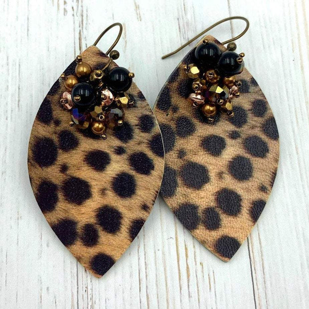 Leopard Print Earrings | Faux Leather Diamond Shape | 60's Style Drop Earrings | Gift for Girlfriend | Glamour Earrings | 40th Birthday Gift