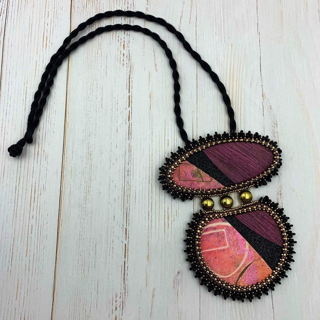 Pink, Plum & Black Pendant Necklace | Statement Jewelry | Boho Gift for Her | OOAK Jewelry | 40th Birthday Gift Idea | Polymer Clay Necklace