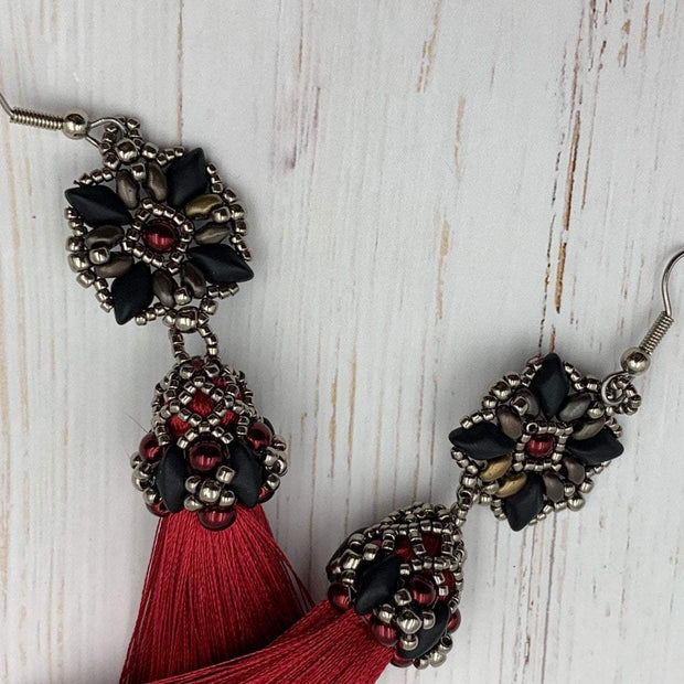 Red & Black Tassel Earrings | Boho Fringe Statement Earrings for Women | Jewelry Gift for Women