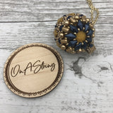 Essential Oil Diffuser Pendant Necklace | Mindfulness Gift for Women | Yoga Jewelry for Her | Gold and Navy | OOAK Jewelry