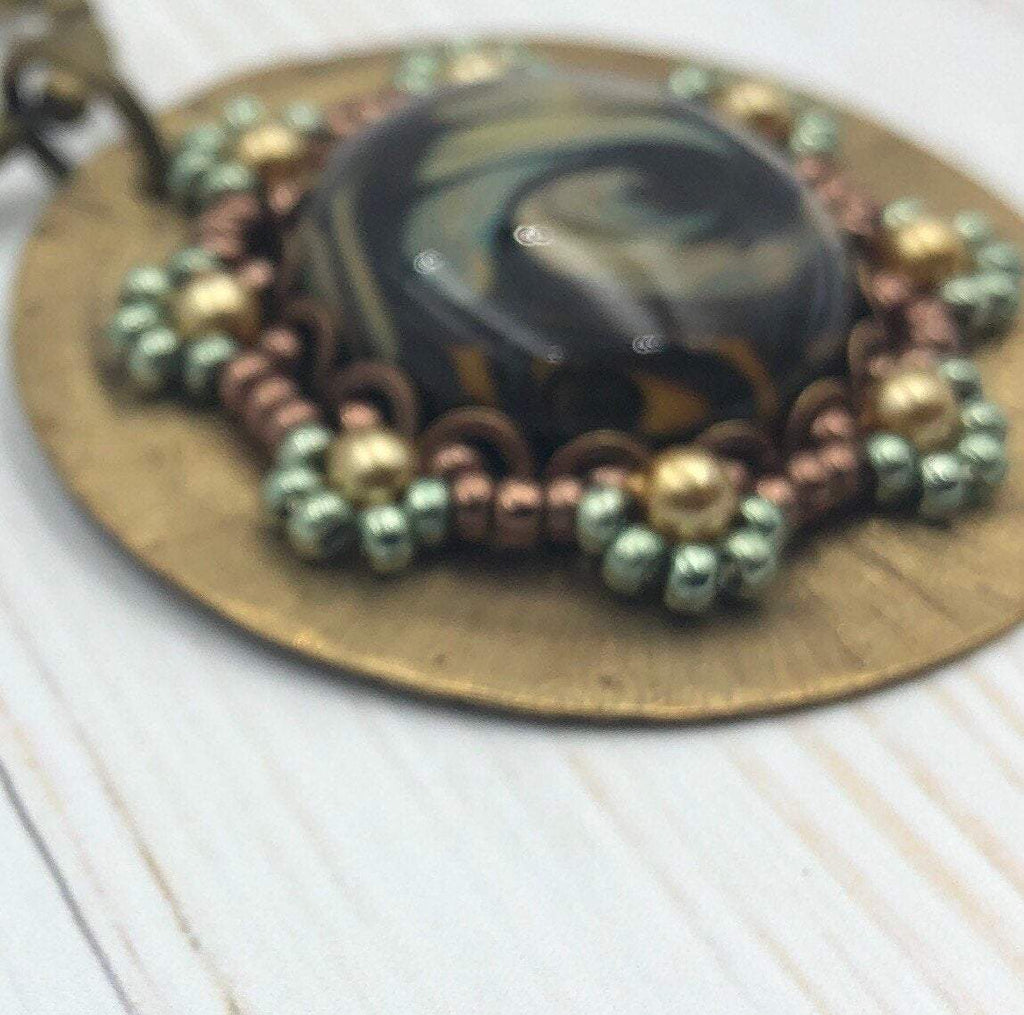Lampwork Glass, Brass Pendant Necklace | Hand Beaded with Glass Bead | Antique Brass Chain | Steampunk Jewelry for Women | OOAK Jewelry