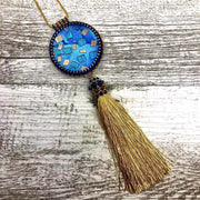 Long Hand Beaded Statement Pendant | Gold Tassel, Blue Polymer Clay Focal | Boho Necklace for Women | Layering Necklace | Girlfriend Gift