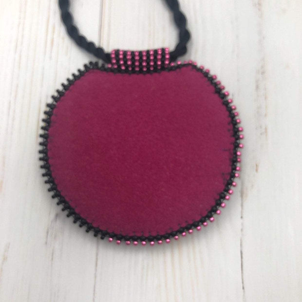 Bead Embroidered Pendant Necklace | Hot Pink Polymer Clay | Statement Pendant | Gift for Her | Women's Handmade Jewelry | OOAK Jewelry
