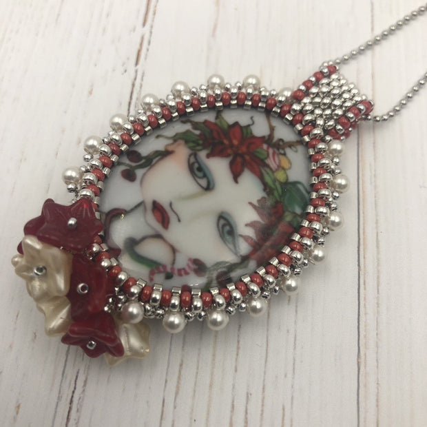 Bead Embroidered Flower Pendant | Christmas Jewelry Gift for Her | Red & Silver Necklace | Flower Necklace | Painted Ladies Cabochon