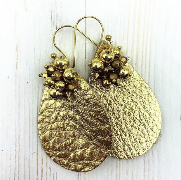 Gold Embossed Earrings | Faux Leather Teardrop Shape | 60's Style Drop Earrings | Glamour Gift for Girlfriend | 40th Birthday Gift | Vegan