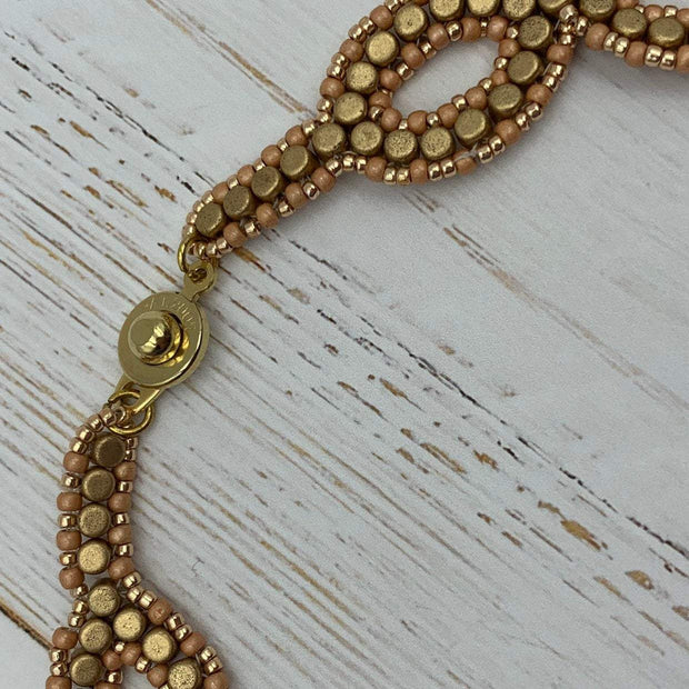 Gold & Rose Gold Beaded Necklace | Seed Bead Jewelry | Boho Jewelry | Gift for Women | OOAK Jewelry