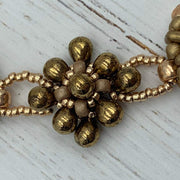 Gold Beaded Necklace | Seed Bead Jewelry | Boho Jewelry | Gift for Women | OOAK Jewelry | Handbeaded and Unique
