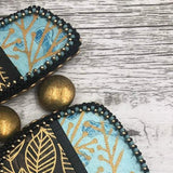 Gold Leaf Statement Pendant Necklace | Screen Printed Polymer Clay | Gold, Aqua & Black Statement Jewelry | Boho Gift for Her | OOAK Jewelry