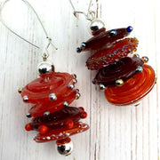 Red Handblown Glass Earrings | Silver Highlights | Statement Earrings | Handmade Gifts for Women