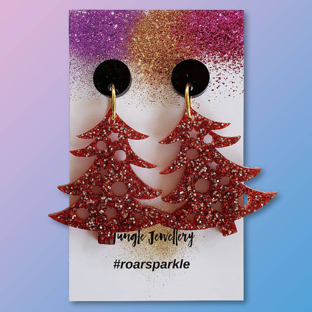 Christmas Tree Drop Earrings - Red Sparkle