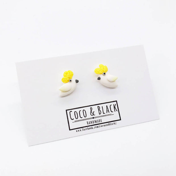 Australian Bird Galah Cockatoo Ear Studs Earrings