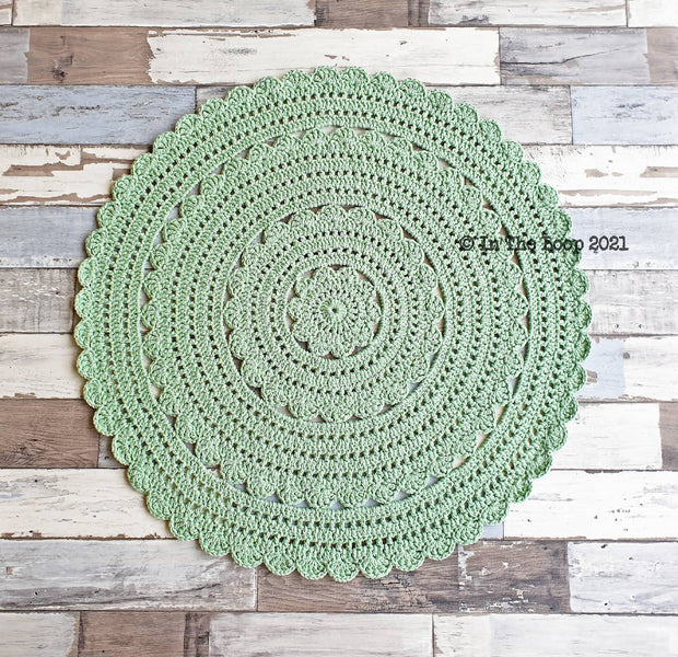 80cm Lincoln Green Crochet Floor Rug