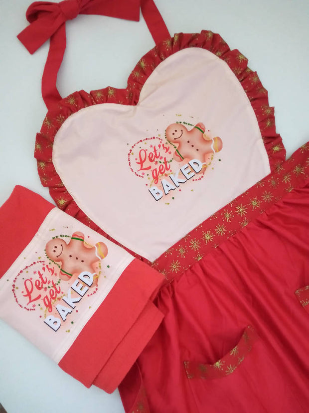 Christmas Let's get baked ladies kitchen apron set