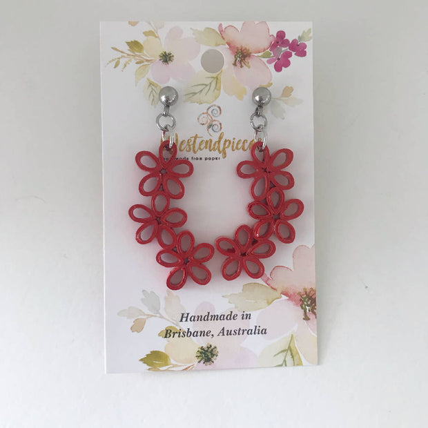 Deep red three flower quilled earrings - you won't believe it's paper!