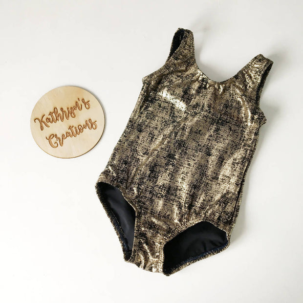 Gold and Black Grunge Basic Leotard