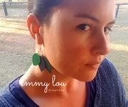 3 Leaf Green & Blue Faux Leather Earrings