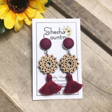 Maroon Mandala Tassel Earrings