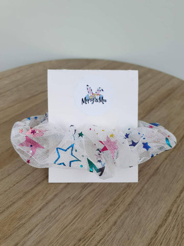 Rainbow Star Burst Organza Scrunchies