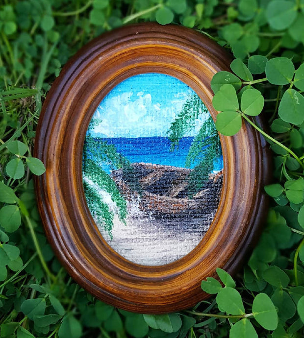 "Seascape painting - Miniature art in Oval Frame - Coastal beach landscape - ""Rowboat"""