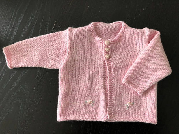 Embroidered baby cardigan & hat - pink with rosebuds