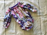Purple Floral Long Sleeve Playsuit Flutter Sleeves Winter Romper, Autumn Romper, Baby Gift Newborn Outfit Bubble Romper Baby Clothes