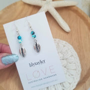 Cowrie Shell Agate Earrings