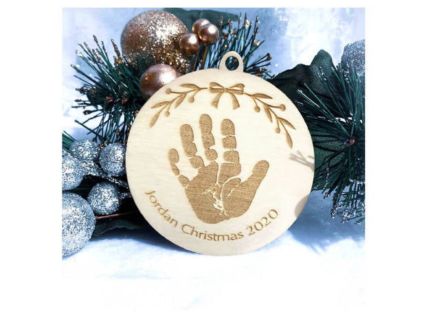 personalised christmas decoration - baby handprint