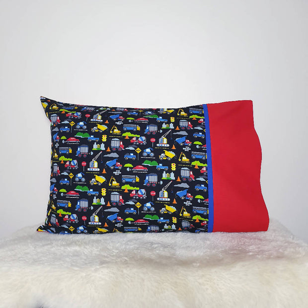 Construction print pillowcase
