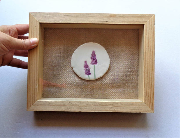Rustic botanical lavender wall art, mixed media framed ceramic floral wall hanging picture miniature, housewarming gift