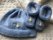 Newborn sets - hand knitted & embroidered merino booties & bonnet