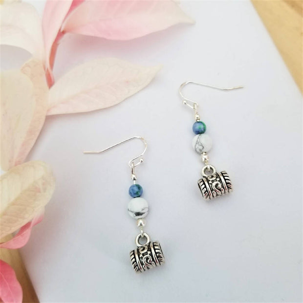 Mandala Blue Earrings