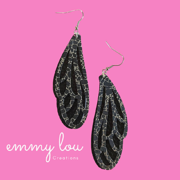 Dragonfly Wing Earrings - Black & Silver