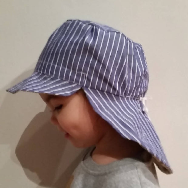 Adjustable Reversible Sunhat - Navy White Stripes with Cute Pandas Grey