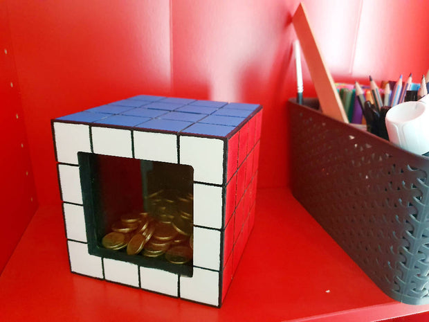 Wooden Cube Money Box