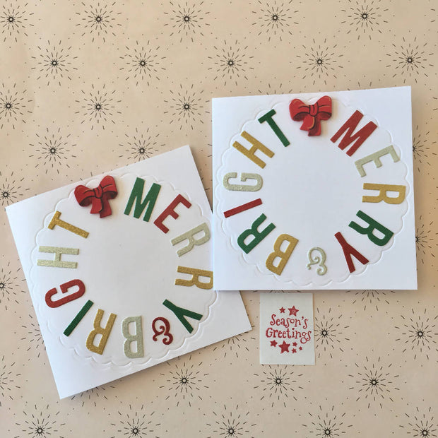Merry & Bright Christmas cards, 2 pack