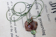 Reclaimed Rhinestone Wire Wrapped Pendant on Salvaged Wood & Cord Necklace