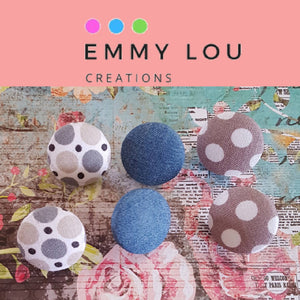 Chambray & Dots Fabric Button Earrings - Set of 3