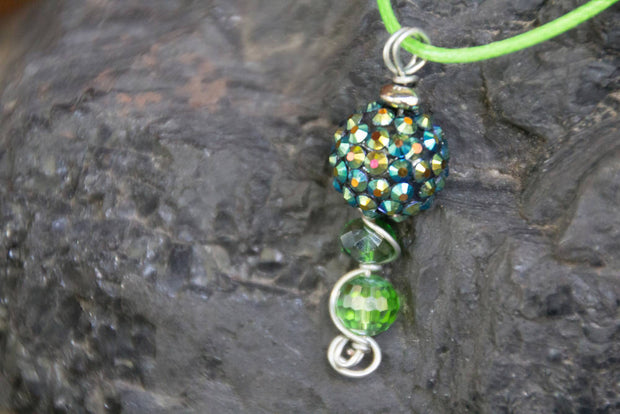 Reclaimed Vintage Rhinestone Bead Wire Wrapped Pendant & Green Cord Necklace