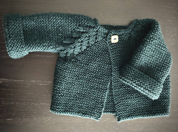 Hand knitted wool baby cardigan - 'Norwegian Fir' design