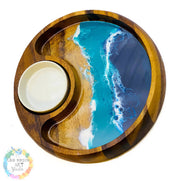 MARKET SPECIAL Resin art dip and chip dish large - ocean resin art