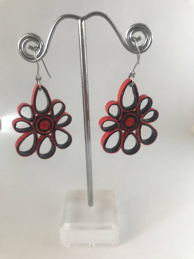 Red and Black quilled earrings made from paper.
