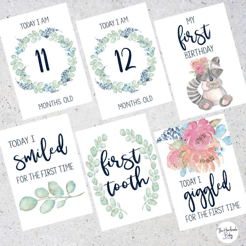 Floral Watercolour Baby Milestone Cards