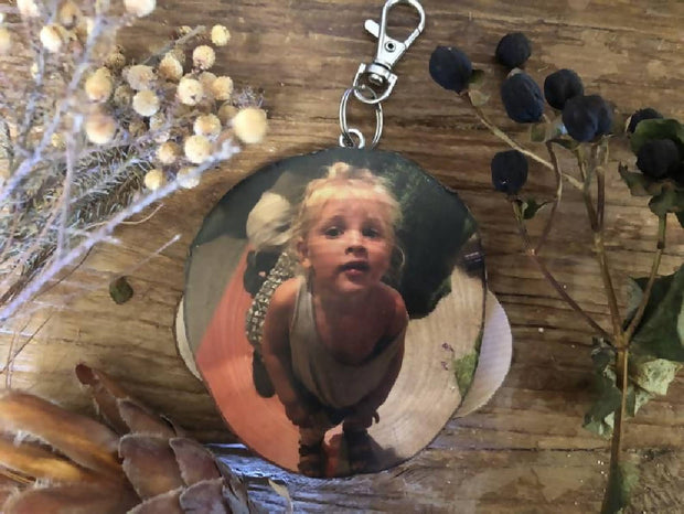 Personalised Bag Tag - Wood Slice Bag Tag, School Gift, Handmade Luggage Tag, Rustic Photo Gift,