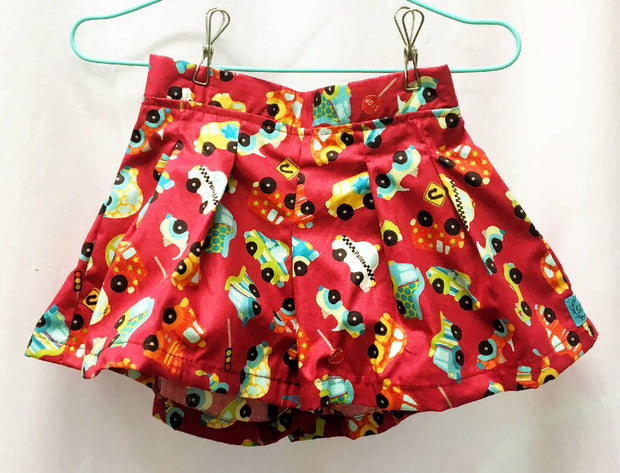 Red cars cotton shorts