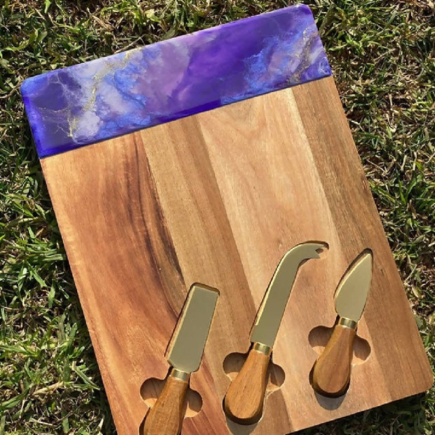 Custom made cheeseboard with inlaid knives