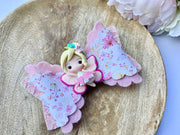 Pink sparkly fairy girl clay glitter hair bow, floral baby bow, hair accessories, baby shower iso birthday stocking stuffer gift