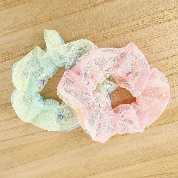 Beaded Sequin Filled Organza Scrunchies