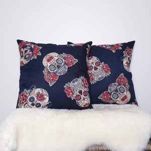 Sugar Skull Print Cushion Cover 18""