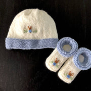 Baby gift sets - hand knitted & embroidered - many colours & designs